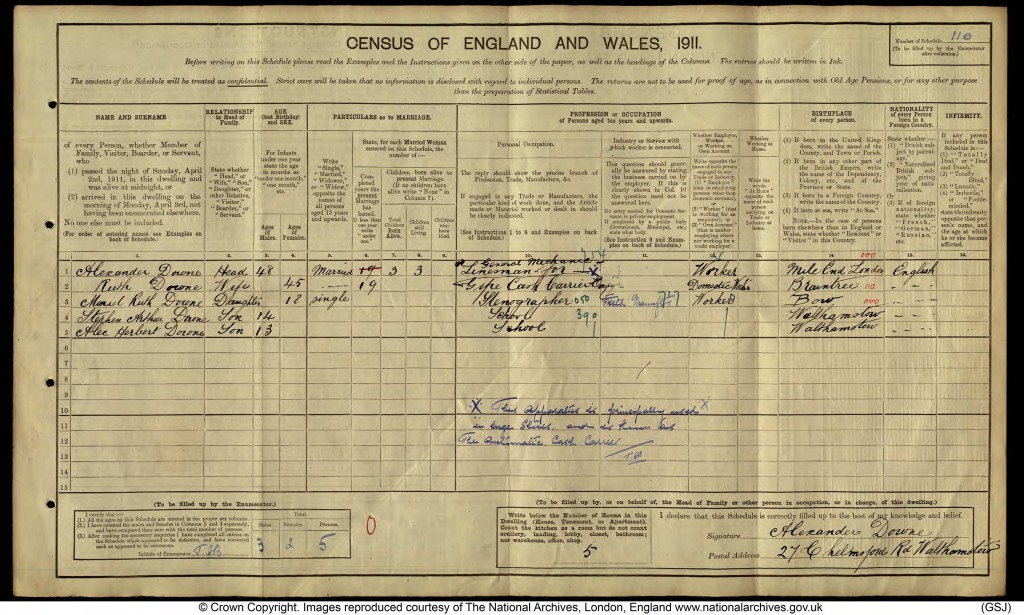 Alexander Downe 1911 census