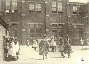 Walthamstow school girls in playground c1900