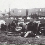 Derailed train in 1889