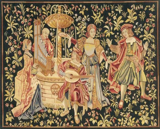 Millefeuille tapestry with musicians courtesy of Heirloom tapestries