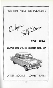 Advertising car ad Walthamstow Guide 1961