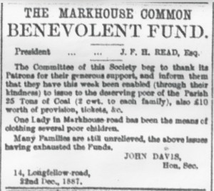 Charity and music Markhouse Common Benevolent Fund